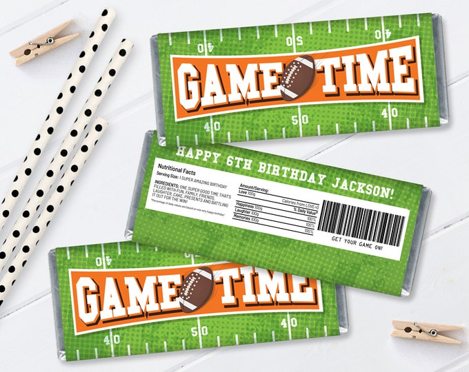 Football Candy Bar Label/Wrapper - Football Birthday, Tailgate, Bowl Party   Self-Editing with CORJL - INSTANT Download Printable