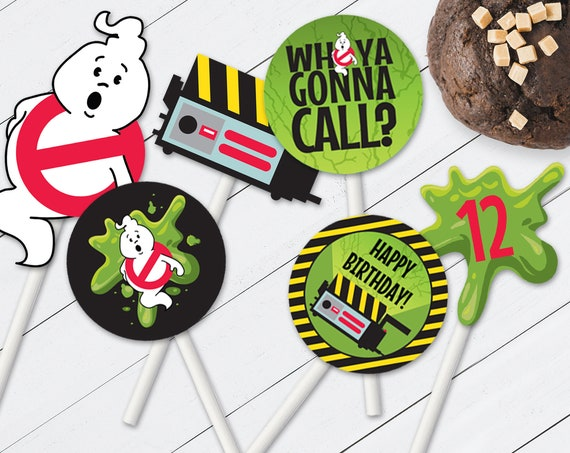 "Ghost-buster Cupcake Toppers - 2"" Circle Cupcake Label with 9 Different Designs 