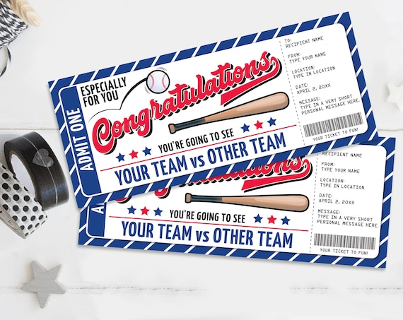 Congratulations Baseball Ticket Gift Editable Template - Surprise Baseball Game Ticket | Self-Edit with CORJL - INSTANT DOWNLOAD Printable