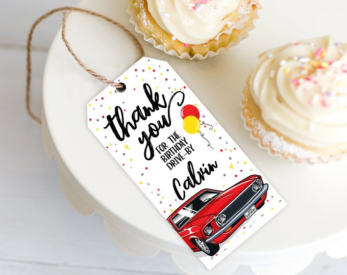 Drive By Birthday Favor Tag - Drive By Tag, Quarantine, Social Distancing | Self-Edit with CORJL - INSTANT DOWNLOAD Printable Template