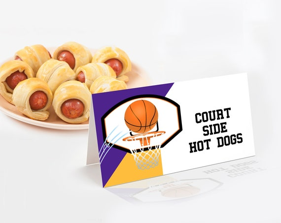 Basketball Food Labels - Basketball Party, Basketball Birthday,Table Tent | Self-Edit Text with CORJL - INSTANT Download Printable