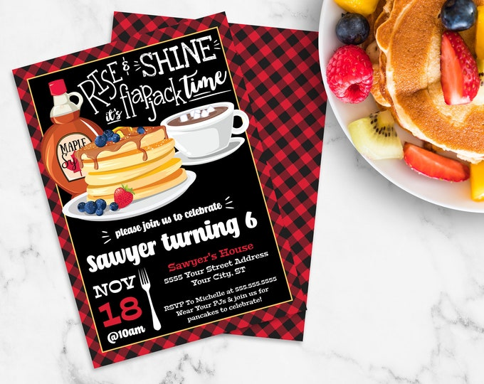 Rise & Shine It's Flapjack Time Invitation - Lumberjack Flapjack Flannel, Flapjack Party | Self-Edit with CORJL - INSTANT DOWNLOAD Printable