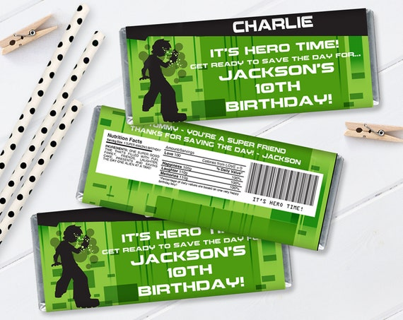 Ben 10 Candy Bar Wrapper/Label - Ben 10 Birthday Party Favor | Self-Edit with CORJL - INSTANT Download Printable