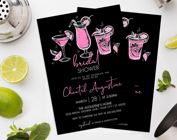Shower Invitation - Cocktail Invite,  Summer Shower, Bridal Shower |  Self-Edit with CORJL - INSTANT DOWNLOAD Printable Template