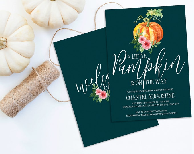 A Little Pumpkin Is On The Way Baby Shower Invitation, Pumpkin Shower, Autumn Shower |  Self-Editing with CORJL - INSTANT DOWNLOAD Printable