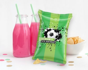 Soccer Party Chip Bag Label/Wrap - Soccer Wrapper, Soccer Birthday | Self-Editing with CORJL - INSTANT Download Printable