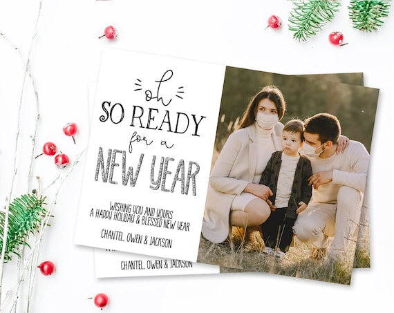 New Years Photo Card - Oh So Ready For A New Year, Holiday Photo Greeting Card,Christmas | Self-Edit with CORJL - INSTANT Download Printable