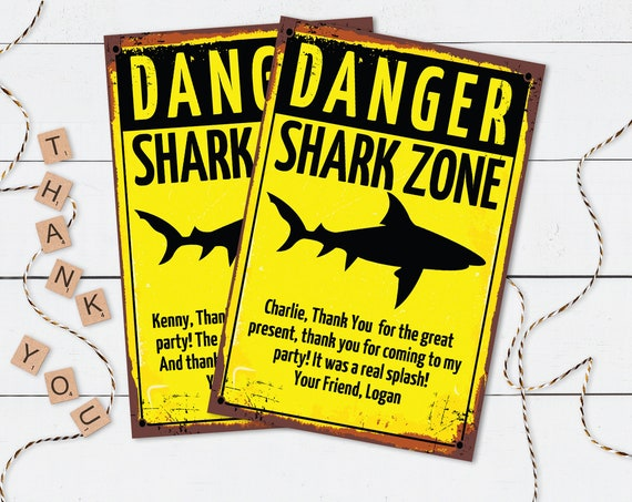 """Shark Party 4""""x6"""" Thank You Card- Shark Birthday, Shark Zone Thank You Card 
