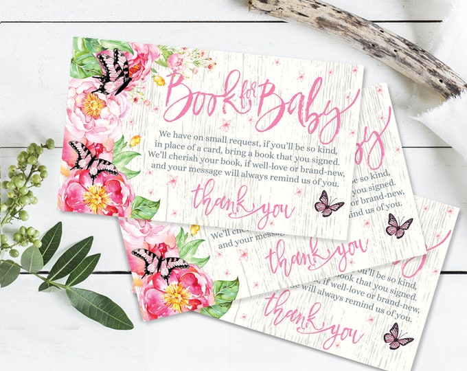 Butterfly Baby Shower,Books for the Baby, Spring,Garden,Peonies,Flower & Butterflies | Self-Editable Text DIY INSTANT Download Printable PDF