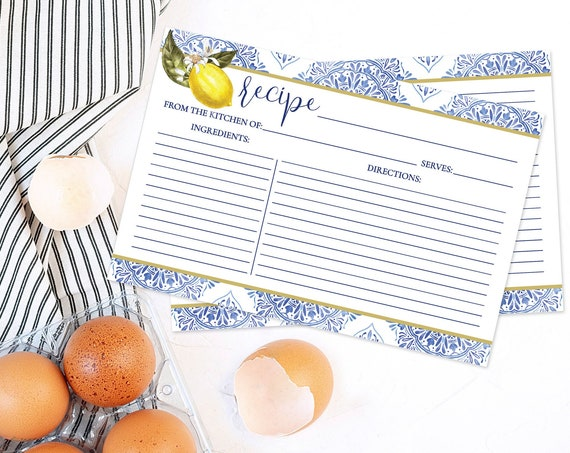 "Tuscan Lemon Bridal Shower Recipe Card - 6""x4"" Recipe Card, Pre-Typed & Ready-To-Print 