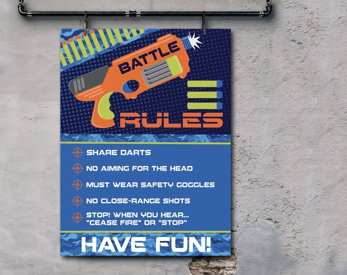 "Dart Wars Rules 18""x24"" Sign, Dart Battle Rules, Dart Gun, Target Party Rule Sign 