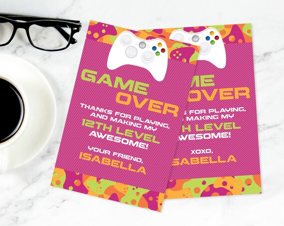 Video Game Party Thank You Card - Video Gamer Thank You, Birthday, Gamer Truck,Pink Camo | Self-Edit with CORJL - INSTANT Download Printable