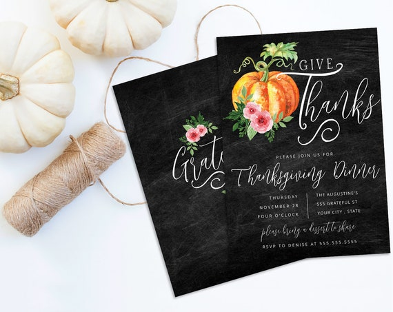 Give Thanks Thanksgiving Dinner Invitation, Chalkboard Pumpkin Invite, Dinner Invite |  Self-Editing with CORJL - INSTANT DOWNLOAD Printable