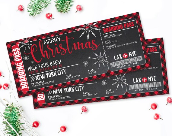Christmas Boarding Pass Ticket - Surprise Trip Reveal, Flight, Holiday Fake Plane Ticket | Self-Edit with CORJL - INSTANT DOWNLOAD Printable