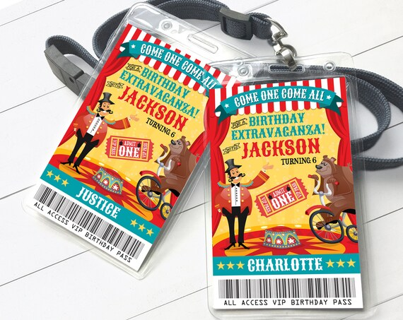 Carnival Circus VIP Badge, Carnival Party, Circus Party, All Access Pass, Bear   Self-Edit with CORJL - INSTANT Download Printable Template
