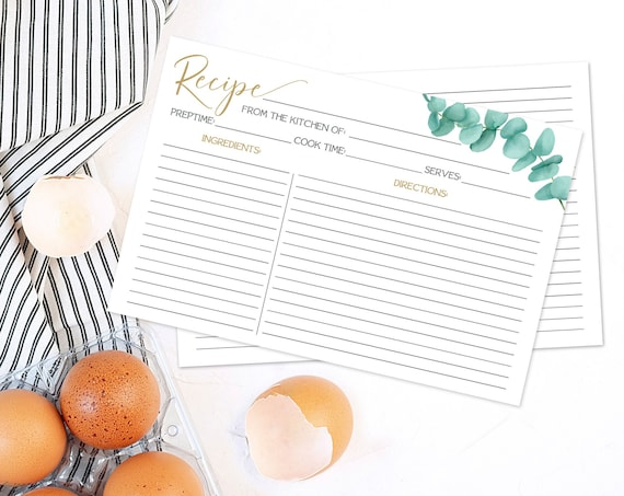 """Eucalyptus Recipe Card - 6""""x4"""" Recipe Card, Bridal Shower, Pre-Typed & Ready-To-Print   INSTANT Download Printable from CORJL"""