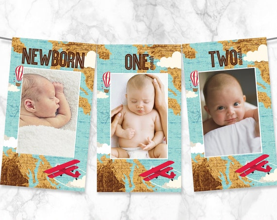 Aviator, Airplane First Year Photo Banner, 12 Month Banner, Airplane Birthday   Pre-Typed Add Photo with CORJL - INSTANT DOWNLOAD Printable