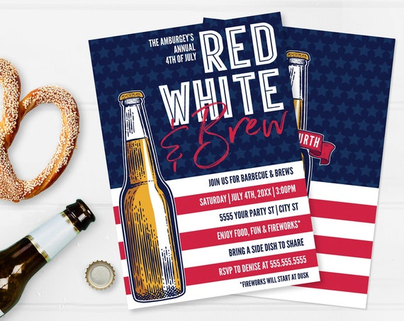 Editable Red White Brew 4th Of July BBQ Invitation - 4th Of July Invite,Barbecue Invite  | Self-Edit with CORJL - INSTANT Download Printable