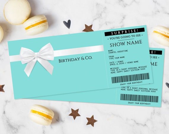 Turquoise Concert Gift Voucher - Surprise Concert Ticket, Printable Certificate, Fake Ticket | Edit with CORJL - INSTANT DOWNLOAD Printable