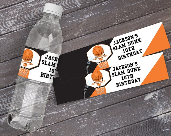 Basketball Water Bottle Label/Wrap - Basketball Party, Basketball Birthday, Slam Dunk | Self-Edit with CORJL - INSTANT DOWNLOAD Printable