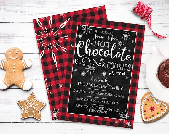 Hot Chocolate & Cookies Invite - Hot Chocolate Bar,Buffalo Plaid,Hot Cocoa and Cookies | Self-Edit with CORJL - INSTANT DOWNLOAD Printable