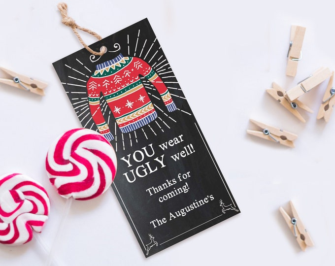 Ugly Sweater Party Favor Tag - Tacky Sweater,Holiday Sweater Party,Christmas Office Party | Self-Edit with CORJL  INSTANT DOWNLOAD Printable
