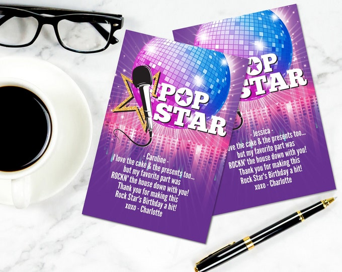 Pop Star Party Thank You Card - Thank You, Birthday Party, Popstar Party | Self-Editing with CORJL - INSTANT Download Printable