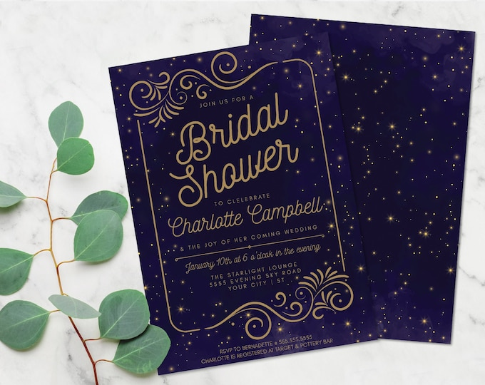Celestial Evening Sky Bridal Shower Invitation,Night Sky, Under the Stars Wedding Shower | Self-Edit with CORJL - INSTANT DOWNLOAD Printable