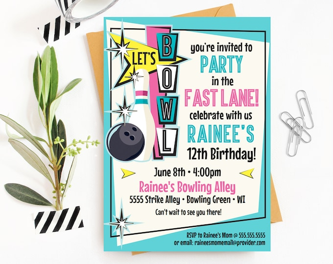Bowling Invitations - Pink Bowling Party, Bowling Birthday, Retro Bowling Invite | Self-Editing with CORJL - INSTANT DOWNLOAD Printable