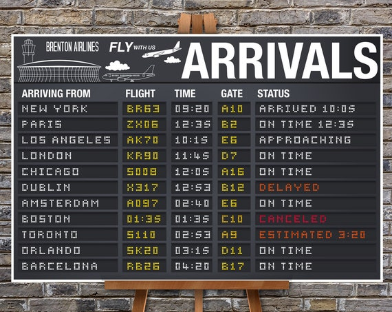 """Airplane Party 24""""X36"""" Poster - Arrival Signs, Airport Terminal Sign, Aviator Decor 