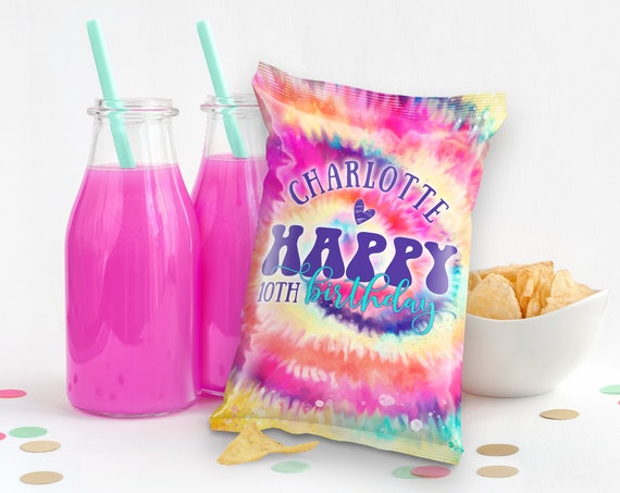 Tie Dye Party Chip Bag Wrap - Favor Bags, Hippie Party, Tie Dye Treat Bag | Self-Edit Text DIY INSTANT Download Printable