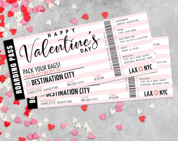 Boarding Pass Gift Valentines Day -Plane Ticket,Printable Voucher Certificate,Surprise Flight | Edit with CORJL - INSTANT DOWNLOAD Printable