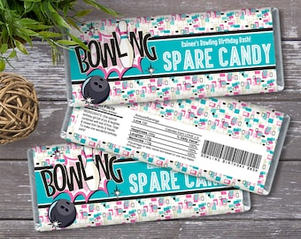 Bowling Party Candy Bar Wrappers - Bowling Birthday, Bowling Favor, Party Favor | Self-Editing with CORJL - INSTANT DOWNLOAD Printable