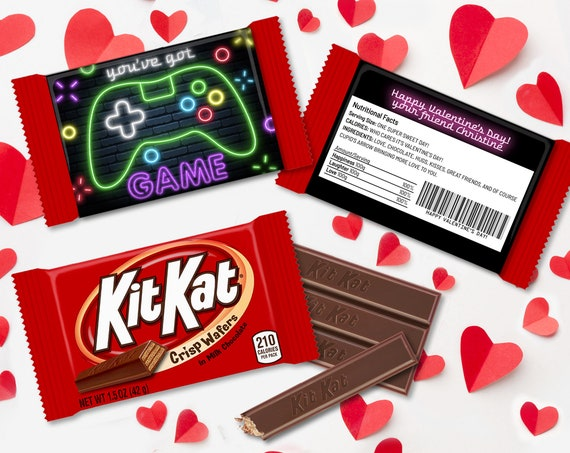 Valentine You've Got Game Neon Xbox Controller Kit Kat Candy Wrap/Label, Video Gamer | Self-Edit with CORJL - INSTANT Download Printable