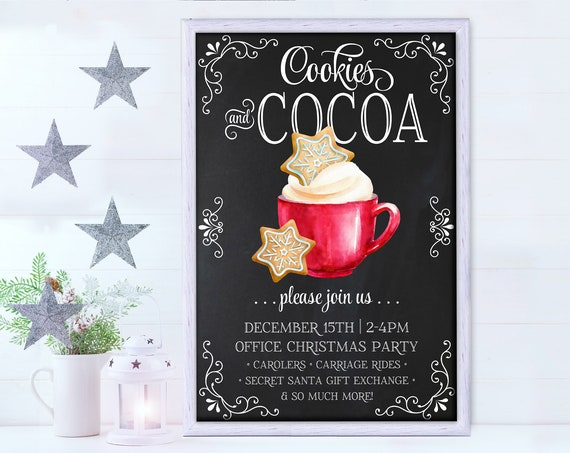 """Cookies & Cocoa 24""""x36"""" Party Sign/Poster - Cookie Party, Hot Chocolate Party Sign 