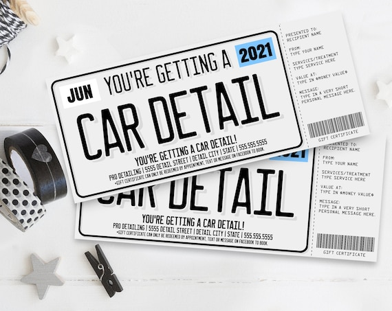 Car Detailing Gift Certificate, License Plate Car Detail Surprise Gift Voucher | Self-Edit with CORJL - INSTANT DOWNLOAD Printable Template