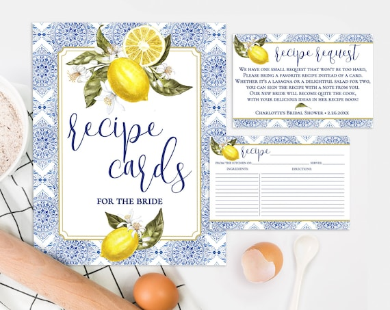 Recipe Card, Recipe Request & Sign 3-Piece Set-Tuscan Lemon Bridal Shower | Pre-Typed and Self-Edit with CORJL - INSTANT DOWNLOAD Printable