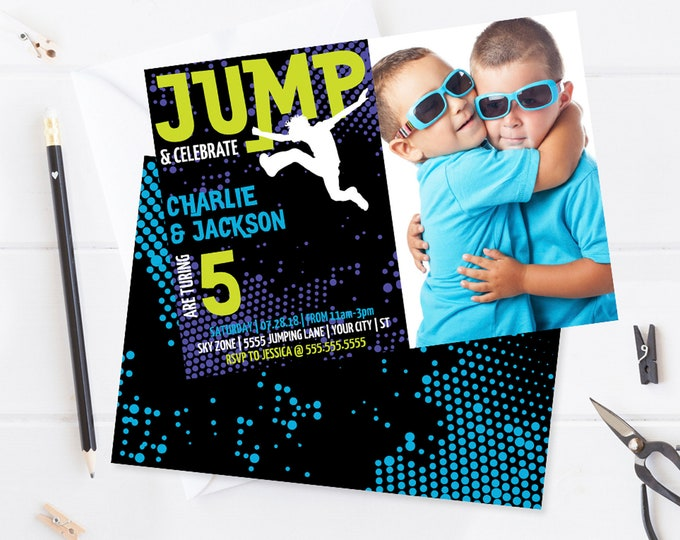 Twin Jump Party Photo Invitation Printable - Trampoline Party,Jump & Play,Bounce On Over | Self-Edit with CORJL - INSTANT DOWNLOAD Printable