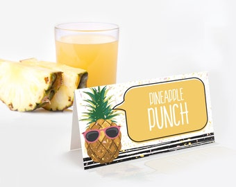 Pineapple Food Label - Party Like a Pineapple, Hawaiian,Luau,Birthday,Pineapple Party   Self-Editing with CORJL - INSTANT DOWNLOAD Printable