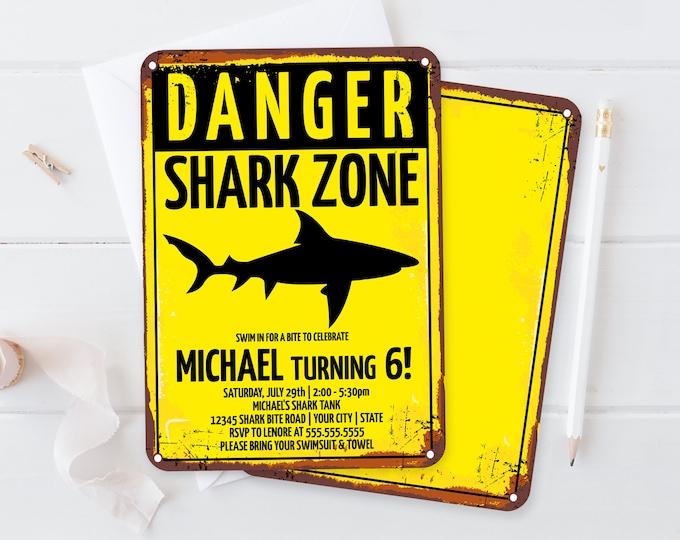Shark Party Invitation - Shark Birthday Party, Shark Zone Invite, Shark Week | Self-Editing with CORJL - INSTANT DOWNLOAD Printable
