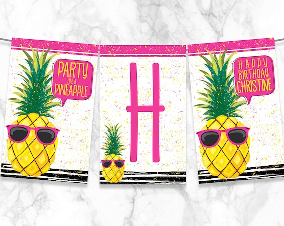 Party Like A Pineapple Banner - Pineapple Party Banner - Hot Pink   Self-Editing with CORJL - INSTANT DOWNLOAD Printable