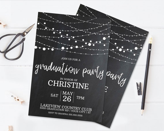 Graduation Party Invitation - Graduation Celebration,Class of,University,High School | Self-Edit with CORJL -INSTANT DOWNLOAD Printable
