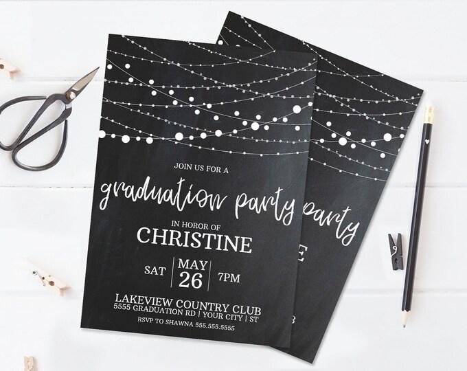 Graduation Party Invitation - Graduation Celebration,Class of 2018,University,High School   Self-Edit with CORJL -INSTANT DOWNLOAD Printable