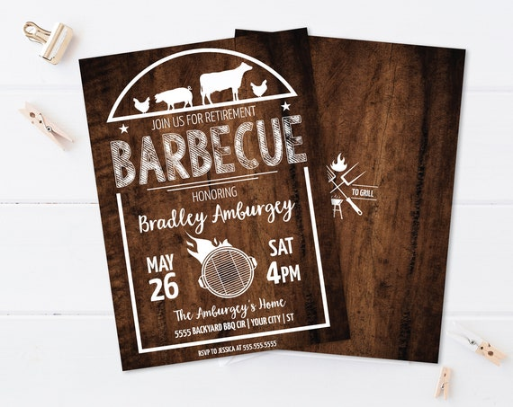 BBQ Retirement Party Invitation - Barbecue Retirement, Retirement BBQ | Self-Edit with CORJL - Instant Download Printable