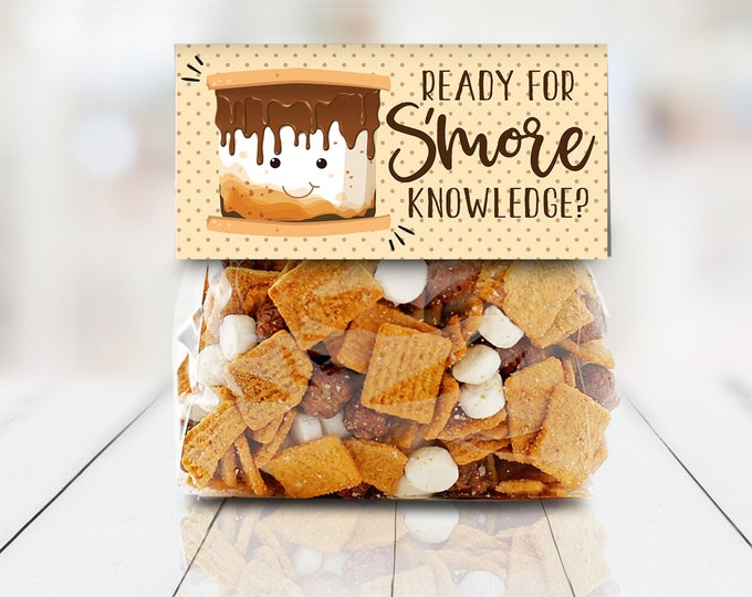 "Ready for S'more Knowledge Bag Topper - S'more 4"" Treat Topper, S'more Treats 