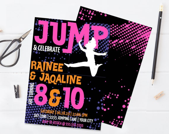 Jump Birthday Invitation - Twins, Trampoline Invite, Jump & Play,Bounce On Over | Self-Edit with CORJL - INSTANT DOWNLOAD Printable Template