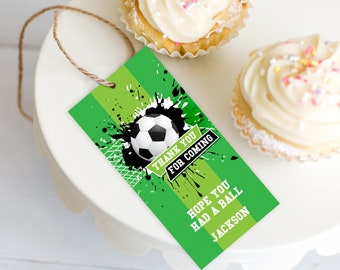 Soccer Party Favor Tag - Soccer Gift Tag, Soccer Birthday | Self-Editing with CORJL - INSTANT Download Printable
