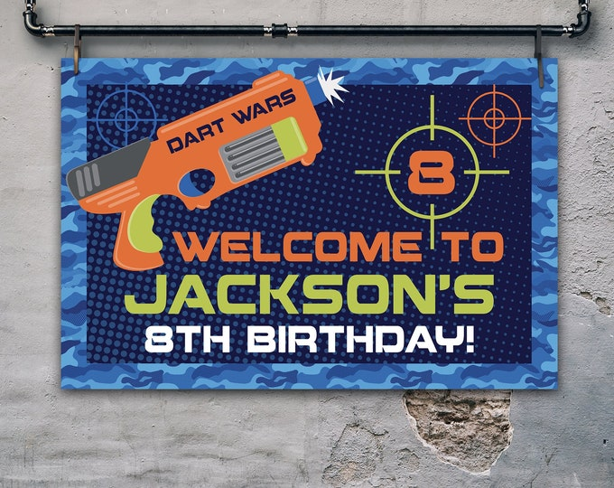 """Dart Wars Welcome Party 36""""x24"""" Sign, Dart Battle, Dart Gun, Target Party Sign   Self-Editing with CORJL - INSTANT DOWNLOAD Printable"""