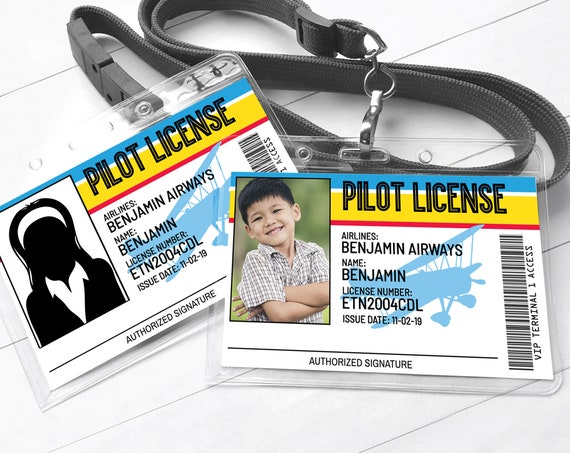 Airplane Pilot License - Airplane Pilot I.D. Badges, Party Favor, Aviator Birthday | Self-Edit with CORJL - INSTANT Download Printable