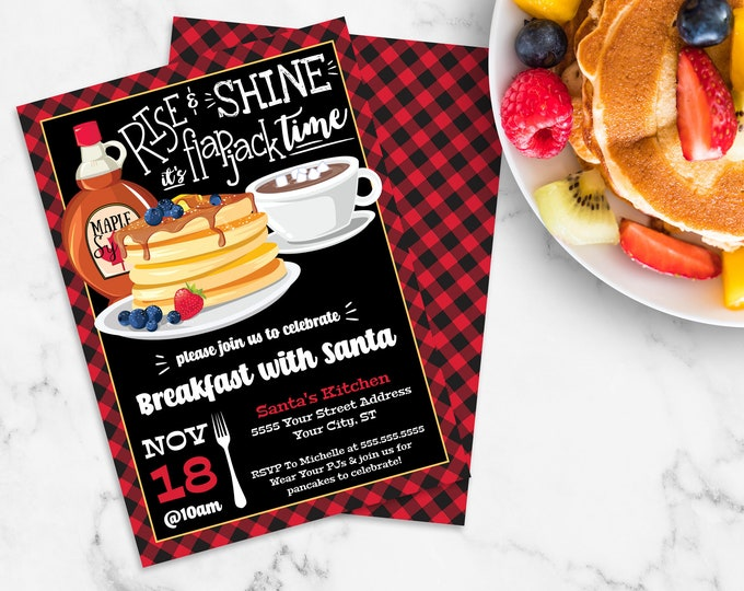Rise & Shine It's Flapjack Time Invitation - Breakfast with Santa, Flapjack Party | Self-Editing with CORJL - INSTANT DOWNLOAD Printable